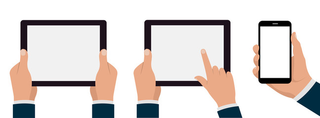 Tablets pc and phone with hands set. Stock illustration