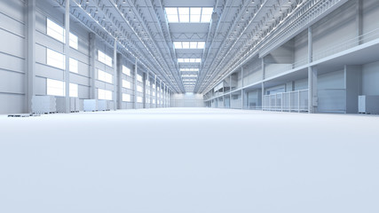 Abstract isolated factory and warehouse room background for industry 3D Rendering