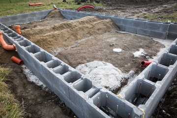 Foundations of the house, unfinished bungalow, rough construction