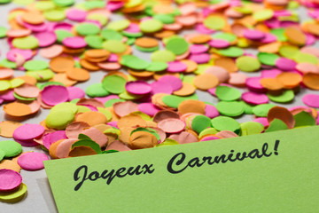 Carnaval party background concept. Space for text, copyspace. Joyeux Carnival, in french language