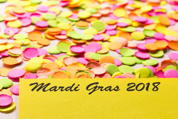 Carnaval party background concept. Space for text, copyspace. Mardi Gras 2018. Colorful confetti