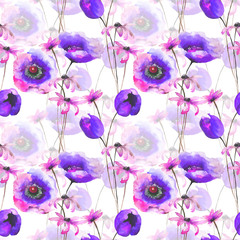 Seamless wallpaper with Gerber and Tulips flowers