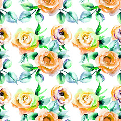 Seamless pattern with Roses flowers