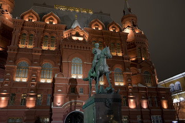 Historical Museum and monument to marshall Zhukov in Moscow