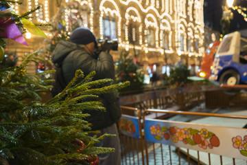 Street photographer at Christmas street