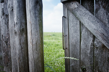 Old fence on a farm in the village,Gates and fences in the rice farm