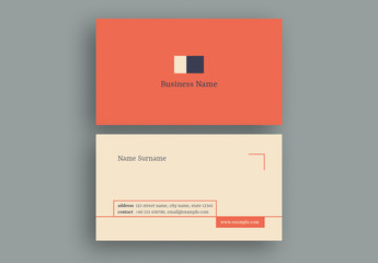 Business Card Layout with Minimalist Design Elements