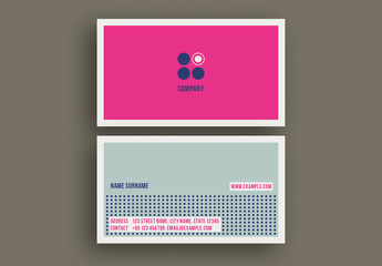 Business Card Layout with Bright Colors and Circular Elements