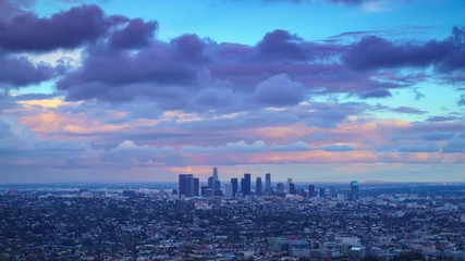 Fototapete - City of Los Angeles skyline changing from day to night. 4K UHD Timelapse