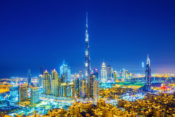 Beautiful view on Dubai downtown skyline, Dubai, United Arab Emirates