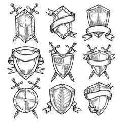 Blank or empty shields with swords and ribbons.