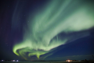 Northern Lights on sky in northern Alberta, Canada
