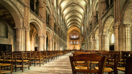 Main hall interior of Saint Remi abbey in Reims, France