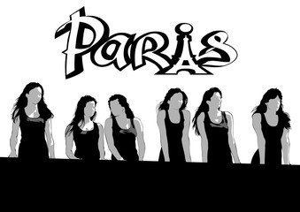 Young women in black dresses and Paris logo