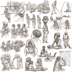 People - An hand drawn pack. Collection of Natives around the World. Freehand sketching, drawing.