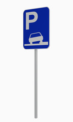 Deutsches Verkehrsschild: Parken auf Gehweg erlaubt, auf weiß isoliert.