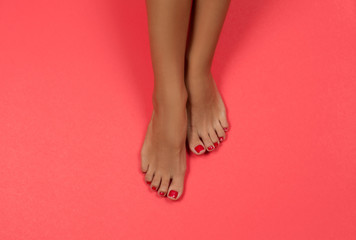 Aluminium Prints Pedicure Beautiful female feet at spa salon on pedicure procedure