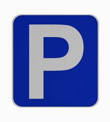 Deutsches Verkehrsschild: Parken, auf weiß isoliert.