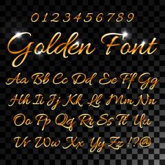 Calligraphic golden letters. Vintage elegant gold font. Luxury vector script. Golden alphabet calligraphic, calligraphy abc gold script illustration for your web design.