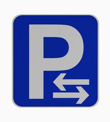 Deutsches Verkehrsschild: Parken rechts und links erlaubt, auf weiß isoliert.