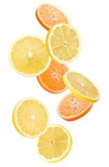 orange and lemon slices isolated on a white background