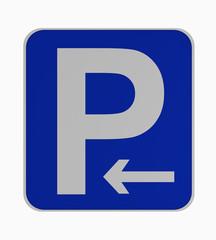 Deutsches Verkehrsschild: Parken links erlaubt, auf weiß isoliert.