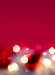 Abstract Red Bokeh Hearts and Lights Valentine Background