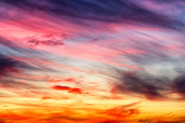 the evening sky. beautiful multicolored clouds in the sky