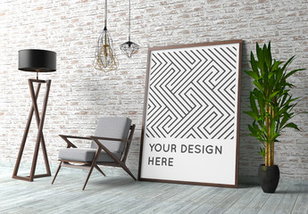 Poster Mockup with Contemporary Interior