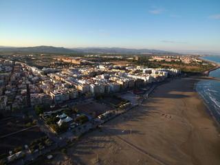 Puerto Sagunto, pueblo costero de Sagunto, en la Comunidad Valenciana, España al norte de la provincia de Valencia. Fotografia aerea con Drone