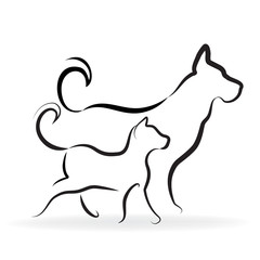 Cat and dog silhouette logo