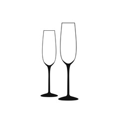 Wine Glass. Vector of Wine Glass. A long, empty black-and-white glasses.
