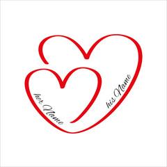 Zwei Herzen rot Einladung