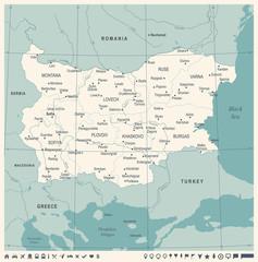 Bulgaria Map - Vintage Detailed Vector Illustration