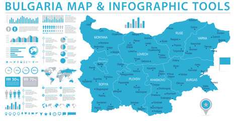 Bulgaria Map - Info Graphic Vector Illustration Wall mural