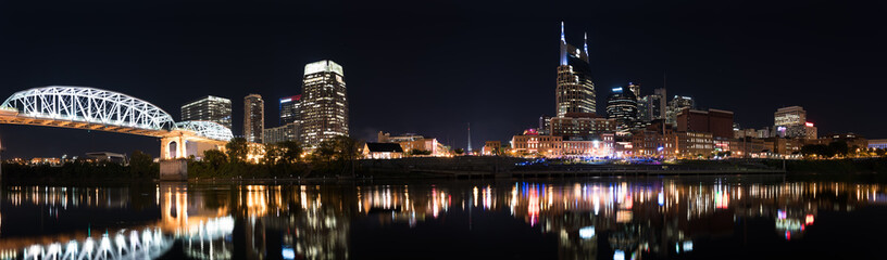 Nashville Skyline at Night with Shelby Street Pedestrian