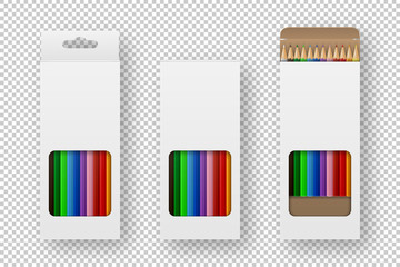 Vector realistic box of colored pencils icon set closeup isolated on white background. Design template, clipart or mockup for graphics - web, app, branding, advertising. Top view