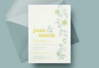 Invitación a boda con limones y flores