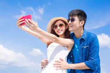 couple selfie happily