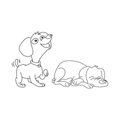 two dogs smiling and sleeping vector illustration outline sketch hand drawn with black lines isolated on white background