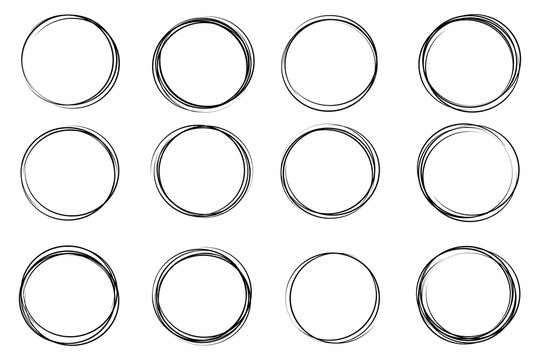 Creative vector illustration of hand drawning circle line sketch set isolated on transparent background. Art design round circular scribble doodle. Abstract graphic element for message note mark