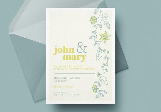 レモンと花柄の結婚式招待状