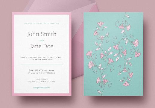 ブルーグリーンと赤の花柄の結婚式招待状