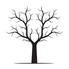 Black shape of Tree Vector Illustration.
