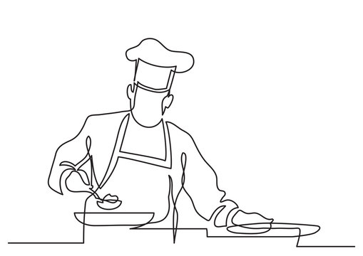 continuous line drawing of chef preparing food