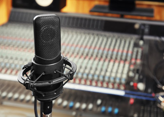 View of microphone in radio station