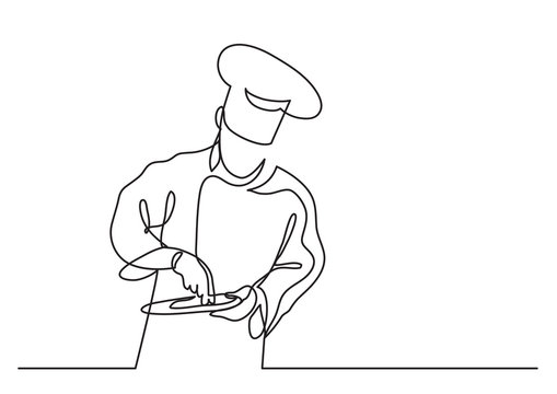 continuous line drawing of chef cooking gourmet meal