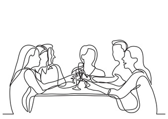 continuous line drawing of company of friends dining in restaurant