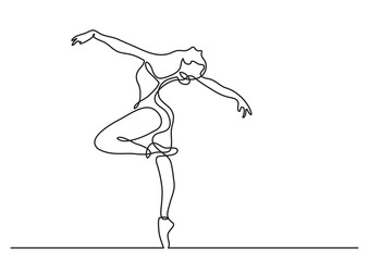 continuous line drawing of woman ballet dancer