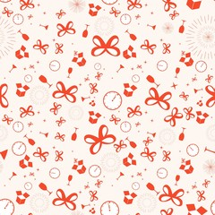 New year holidays with gifts seamless pattern, red bow ribbon with watch on white background, stripes abstract template, vector illustration